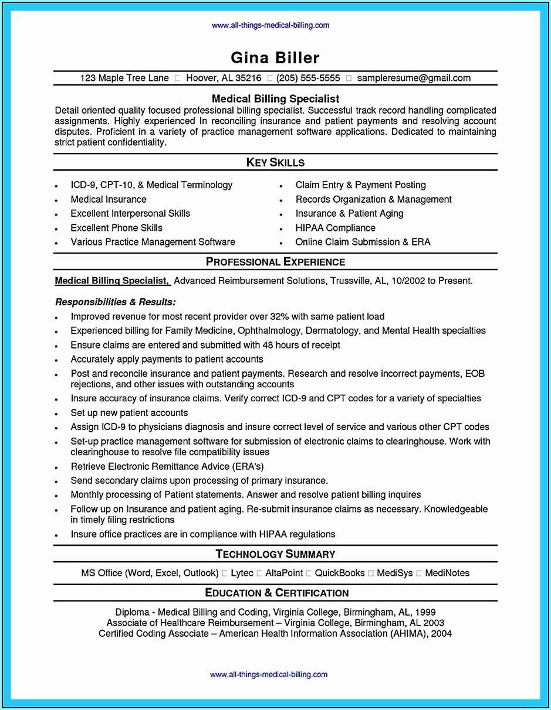 Medical Billing And Coder Resume