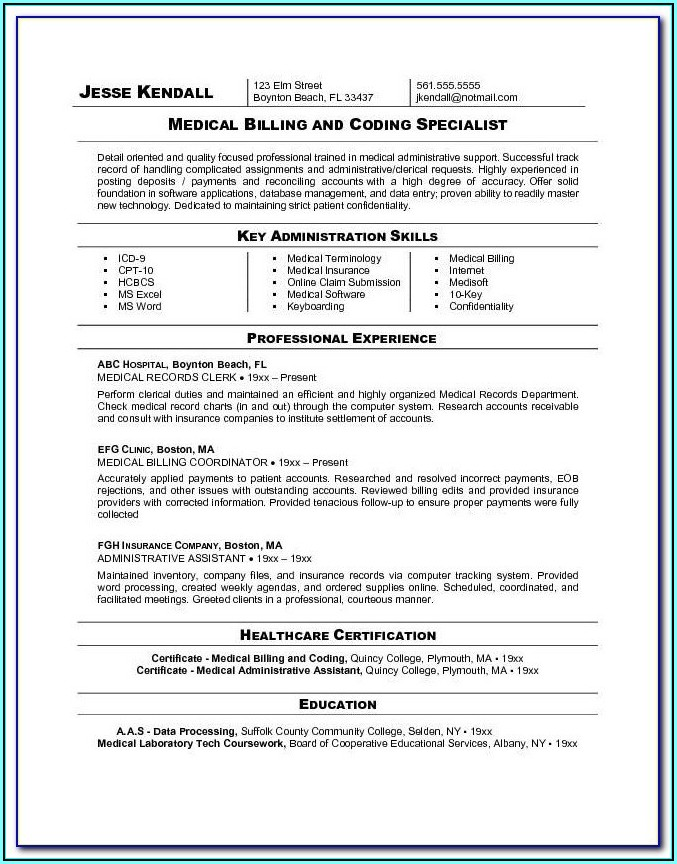Medical Billing And Coding Resume Skills