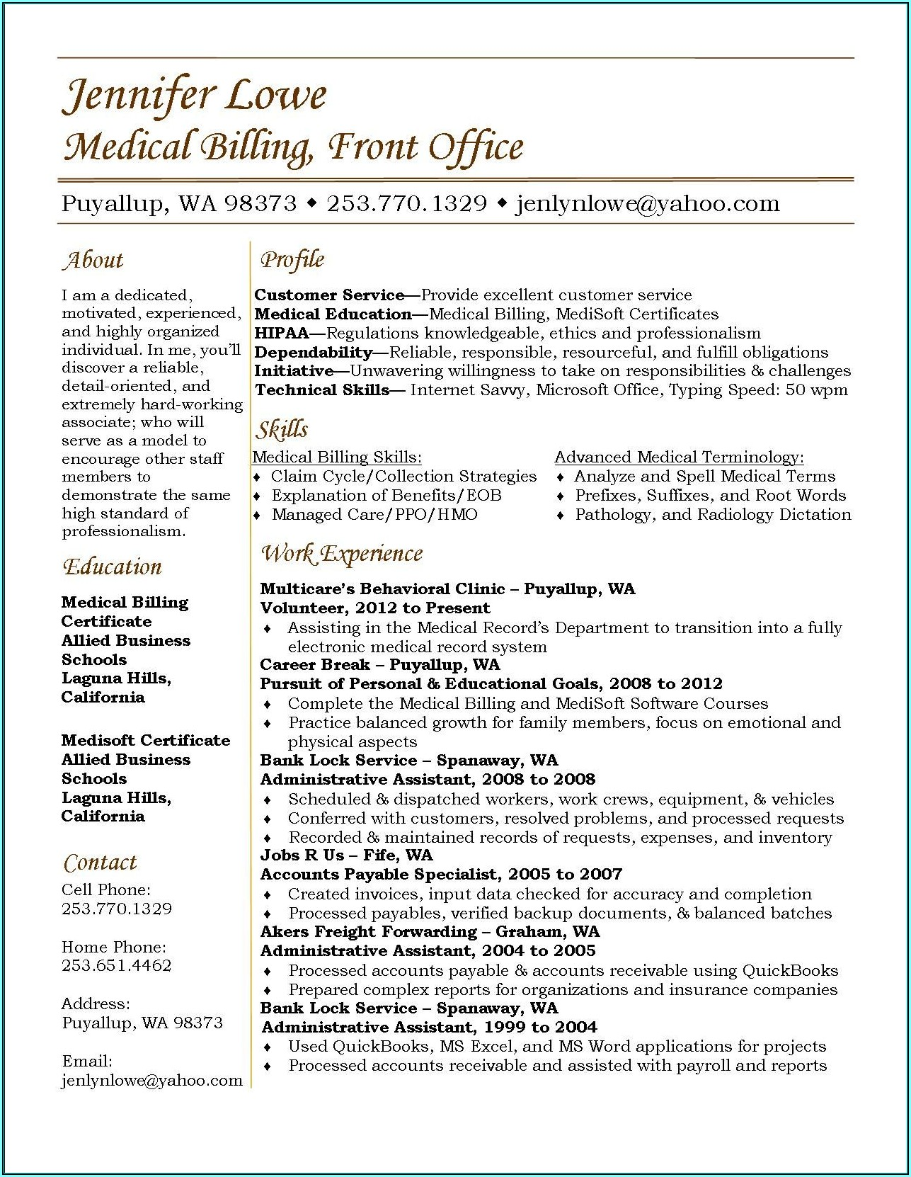 Medical Billing And Coding Resumes