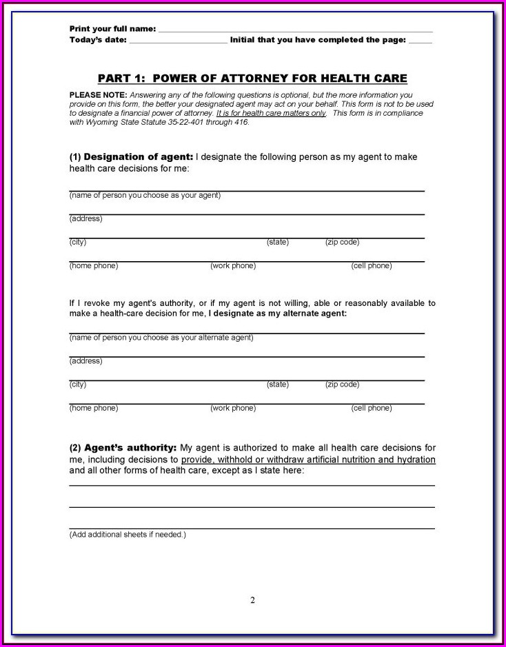 Medical Power Of Attorney Form Florida Free Download