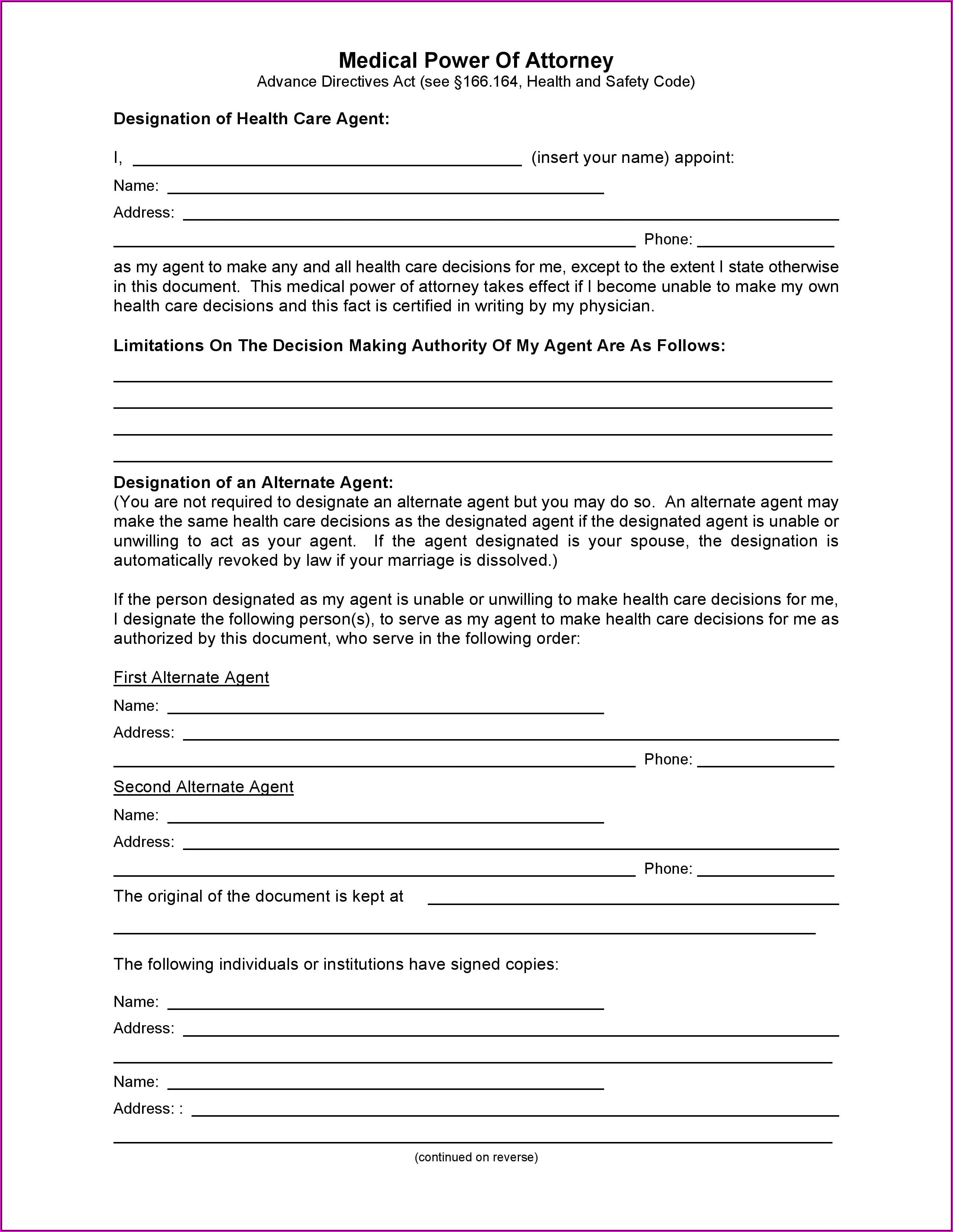 Medical Power Of Attorney Form Free Download