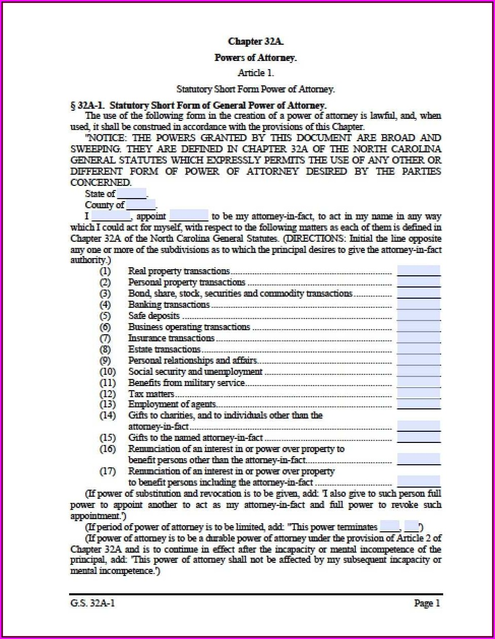 Medical Power Of Attorney Form Nc Pdf