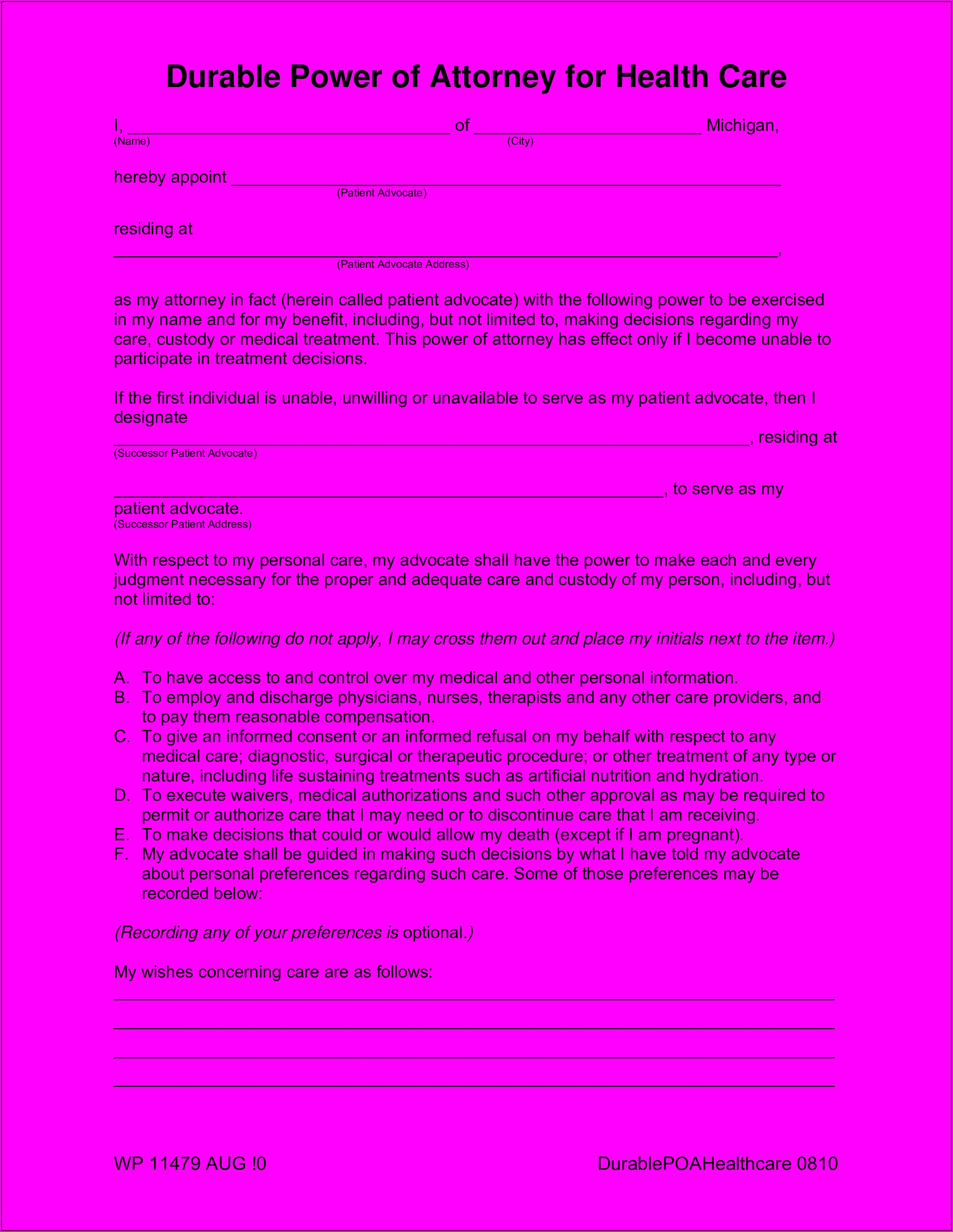 Medical Power Of Attorney Form Templates