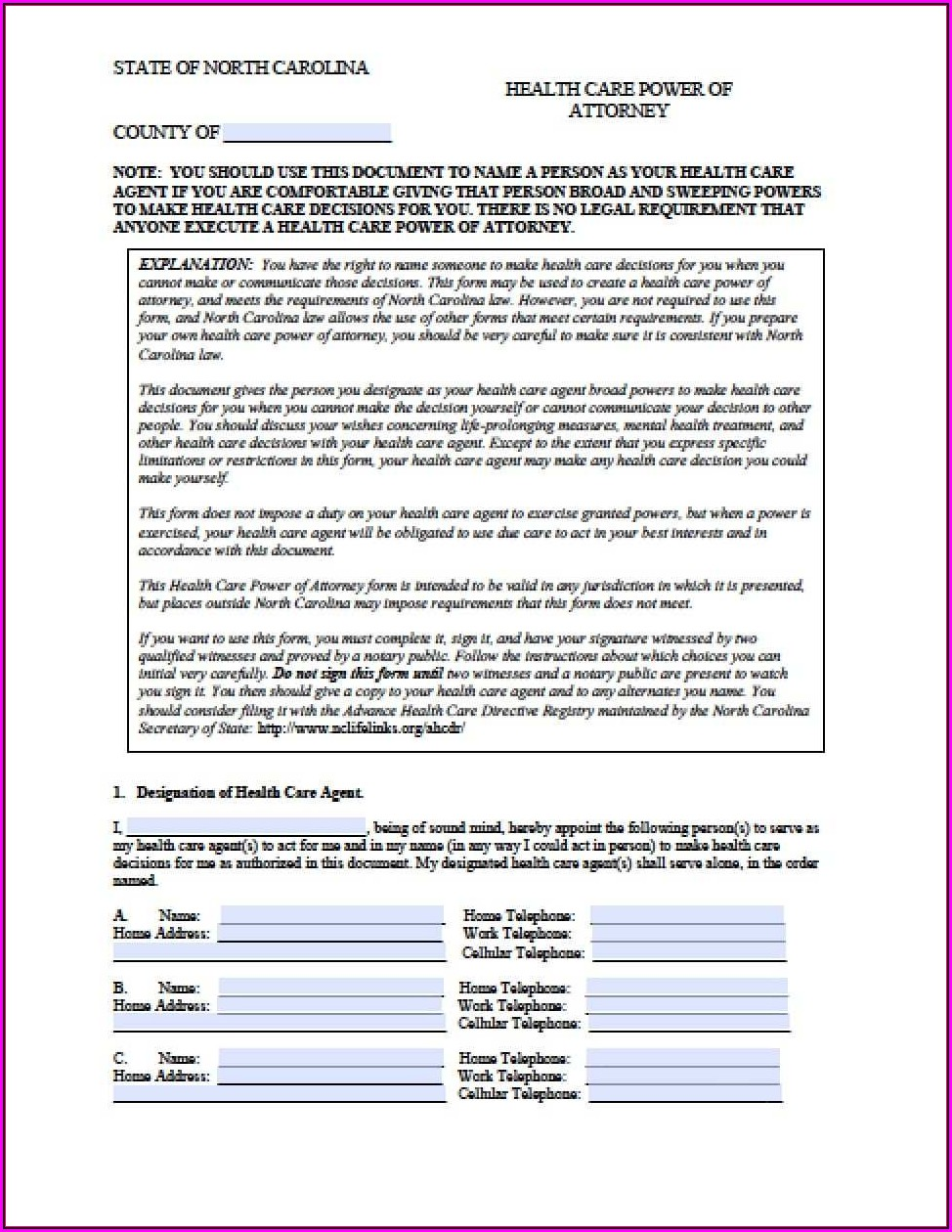 Medical Power Of Attorney Nc Template