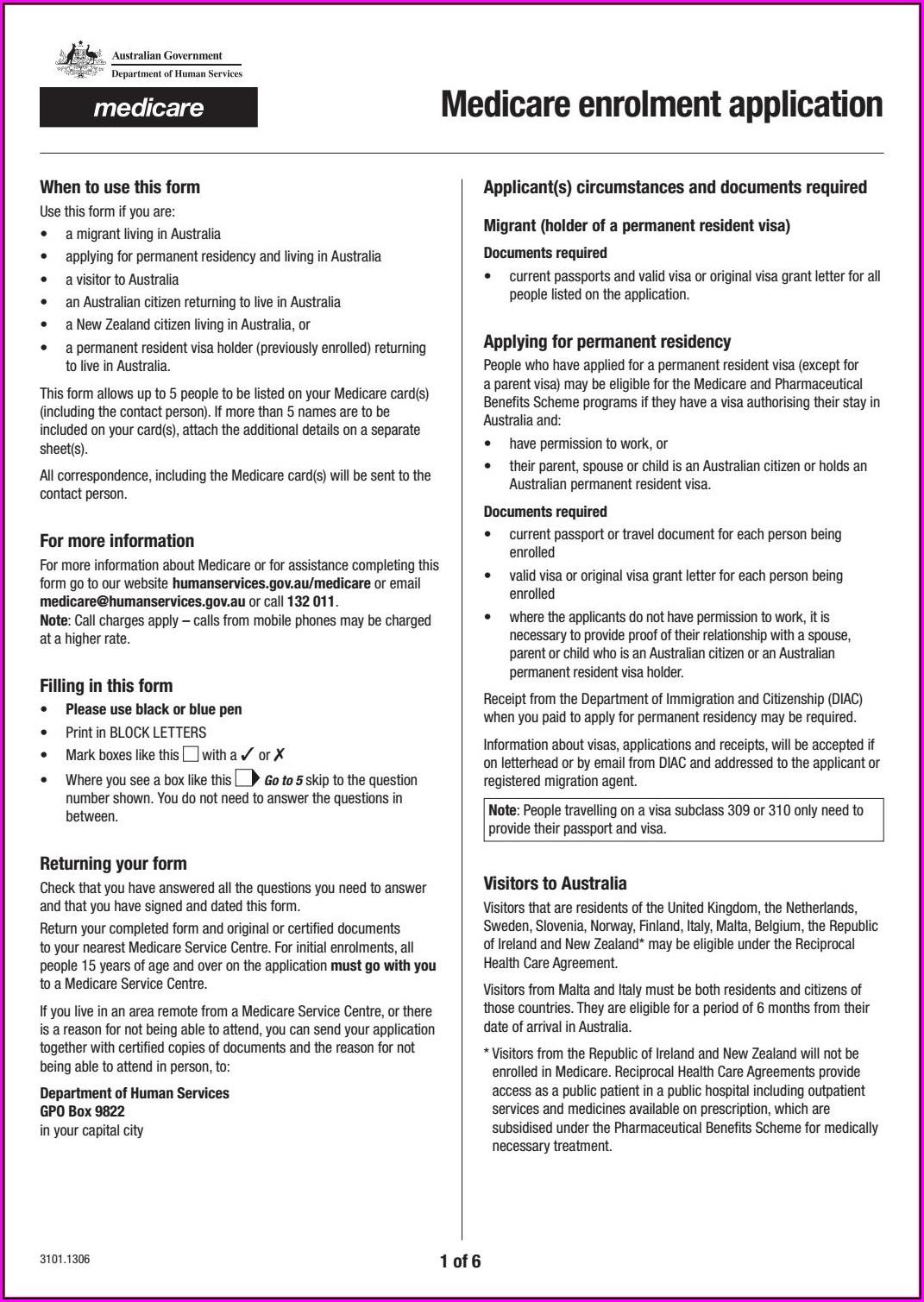 Medicare Enrolment Form Au