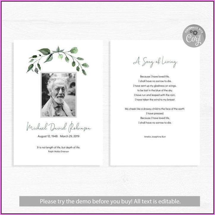 Memorial Card Template Microsoft Word Free