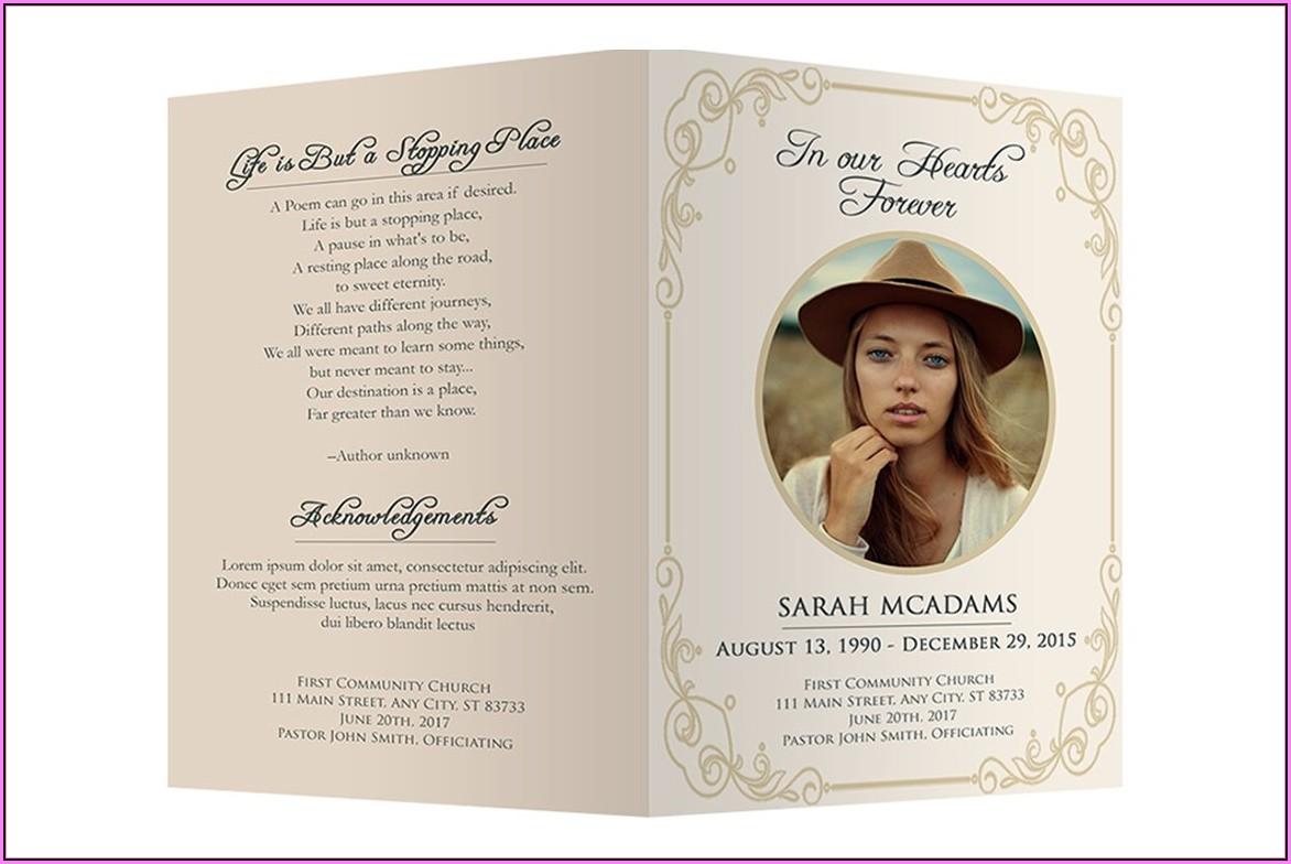 Memorial Card Template Word