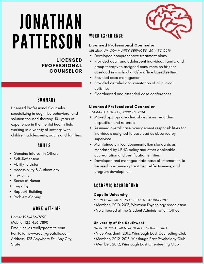Mental Health Counselor Resume Template
