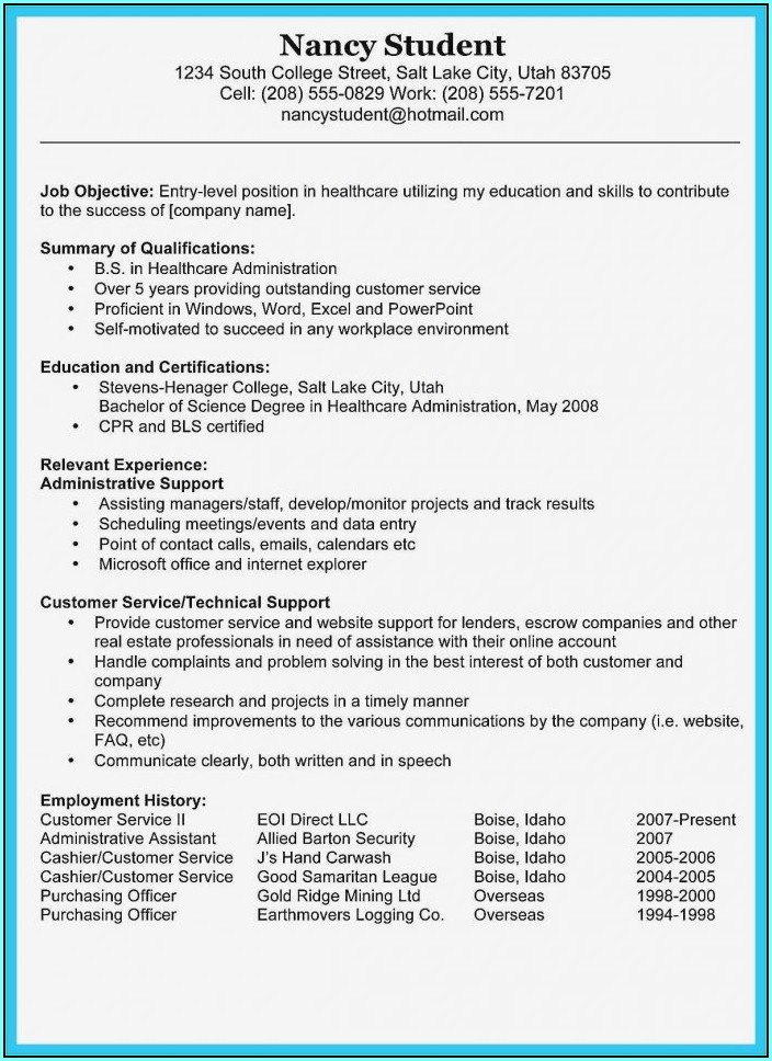 Microsoft Word 2007 Resume Template Free Download