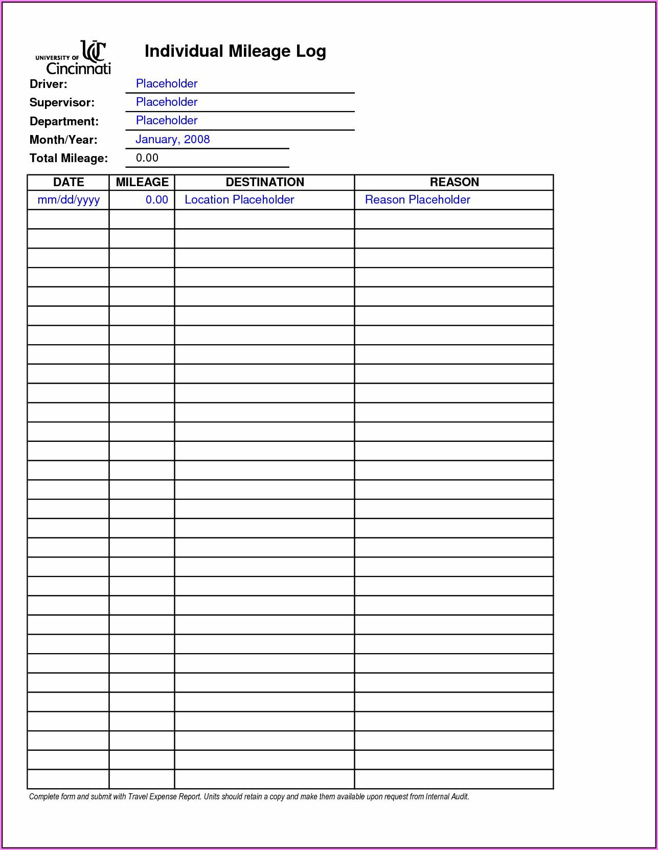 Irs Mileage Reimbursement Form 2018 Form Resume