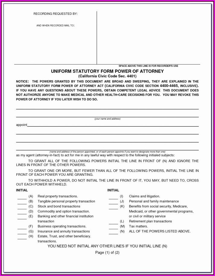 Missouri Durable Power Of Attorney Forms