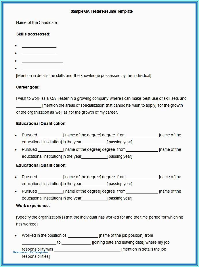 Mobile Application Testing Cv Sample