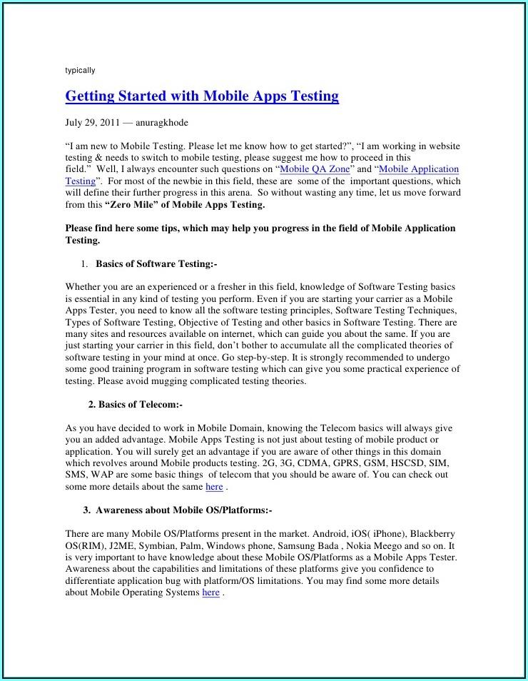 Mobile Application Testing Resume Sample