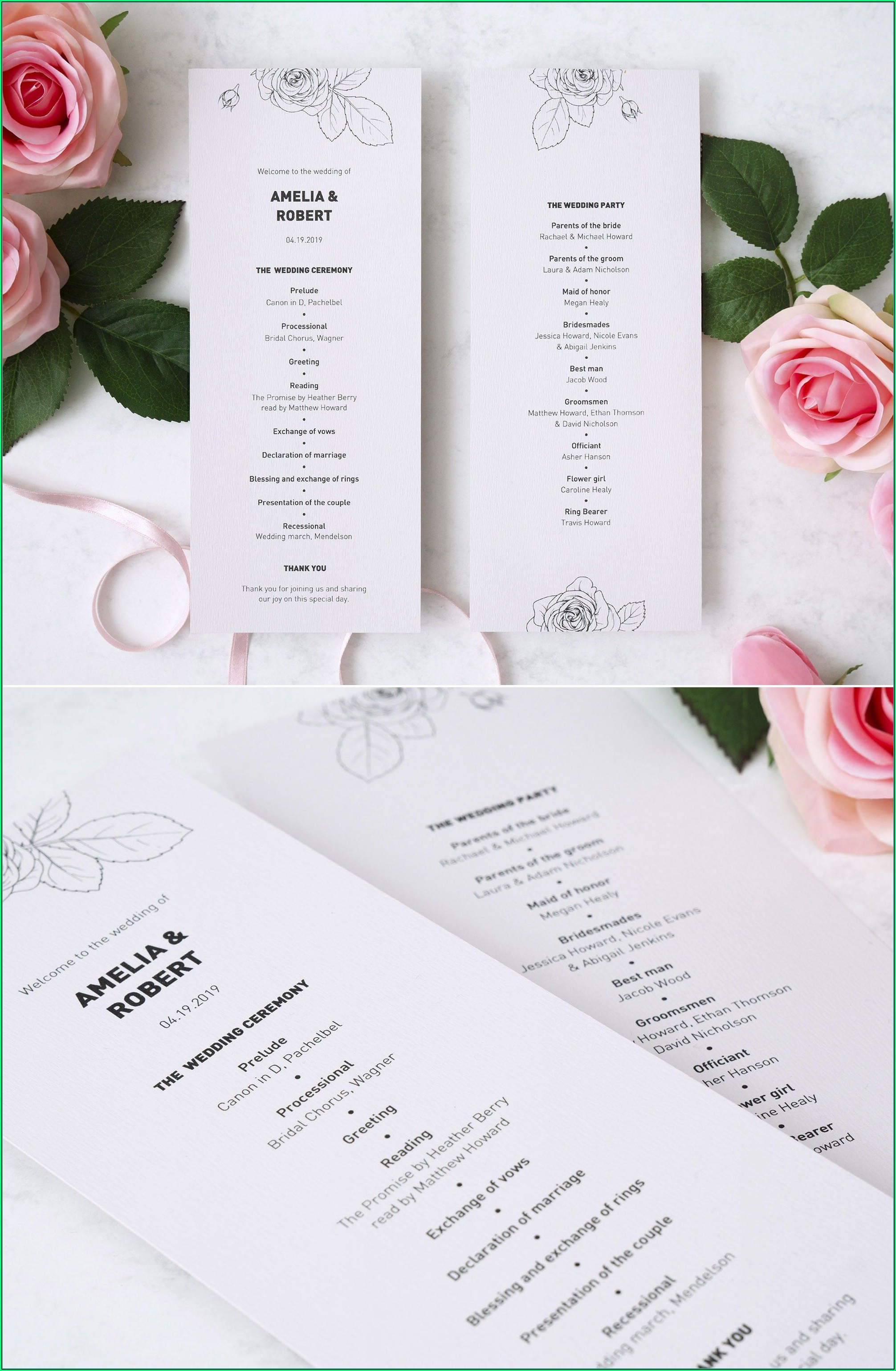 Modern Wedding Ceremony Program Template
