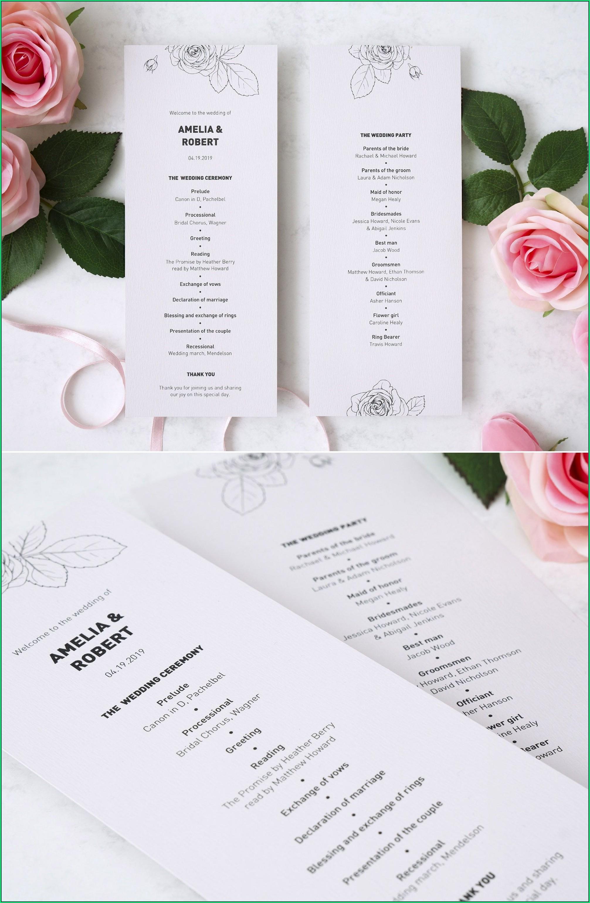 Modern Wedding Ceremony Program Template