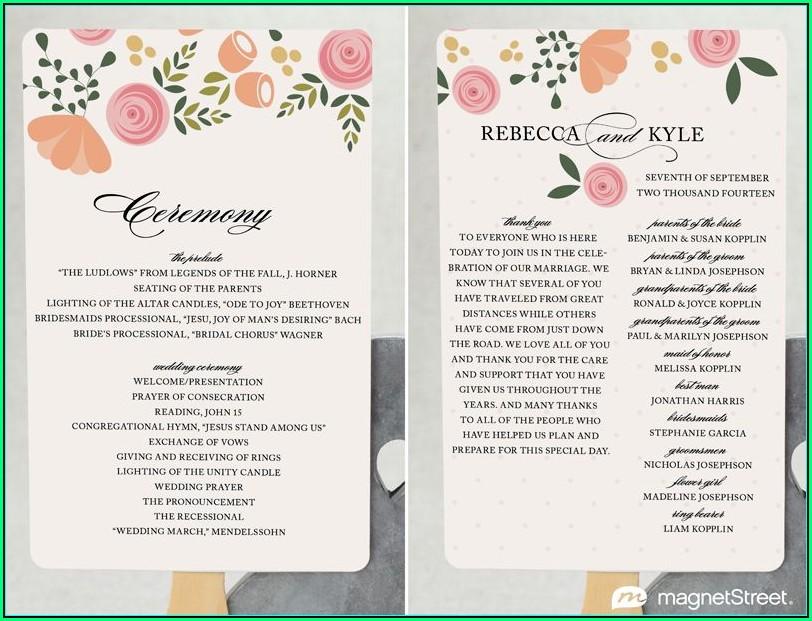 Modern Wedding Program Templates Free