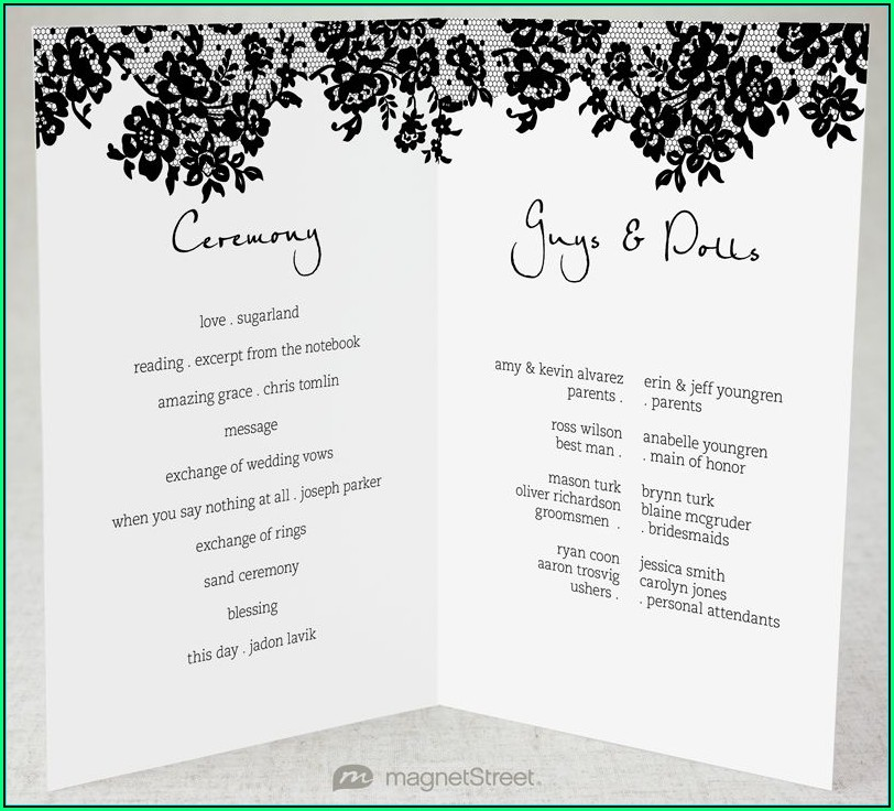 Modern Wedding Program Templates