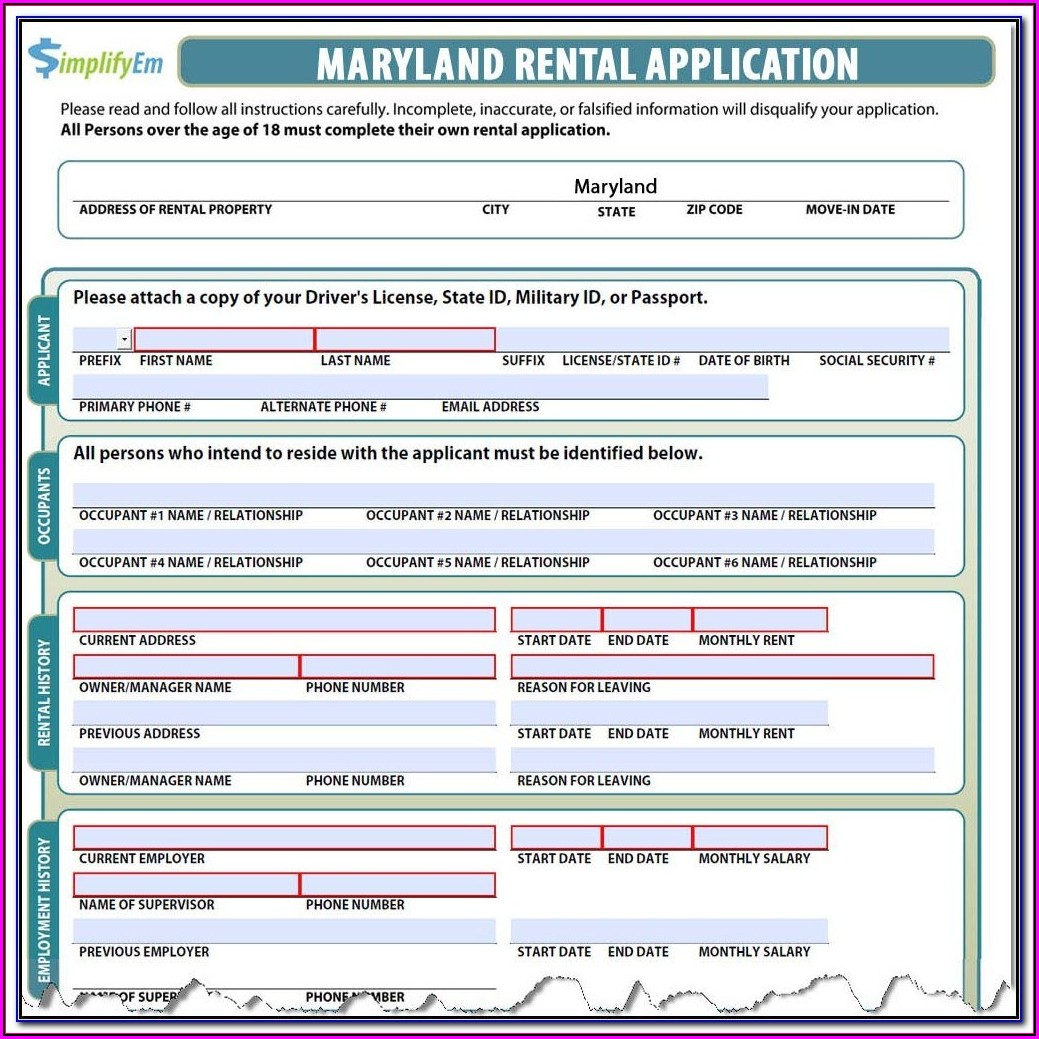 Montgomery County Maryland Rental Application Form