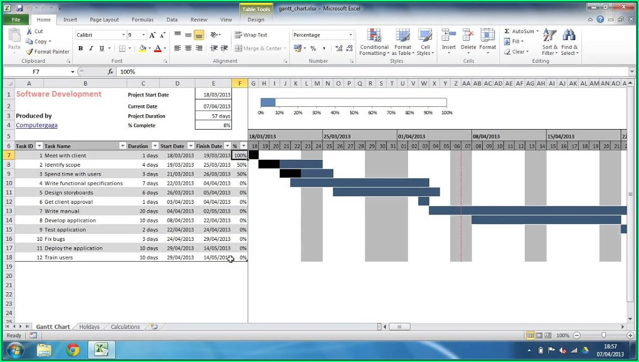 Monthly Gantt Chart Excel Template Free Download