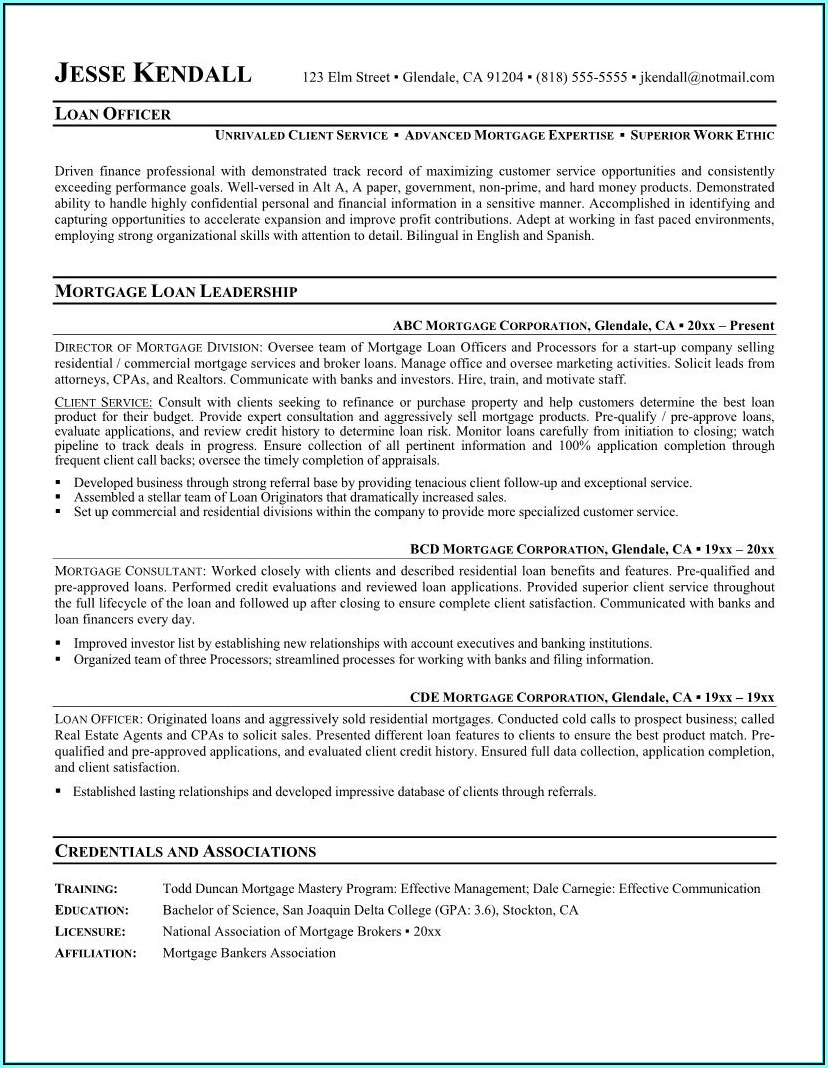 Mortgage Loan Servicing Resume Sample