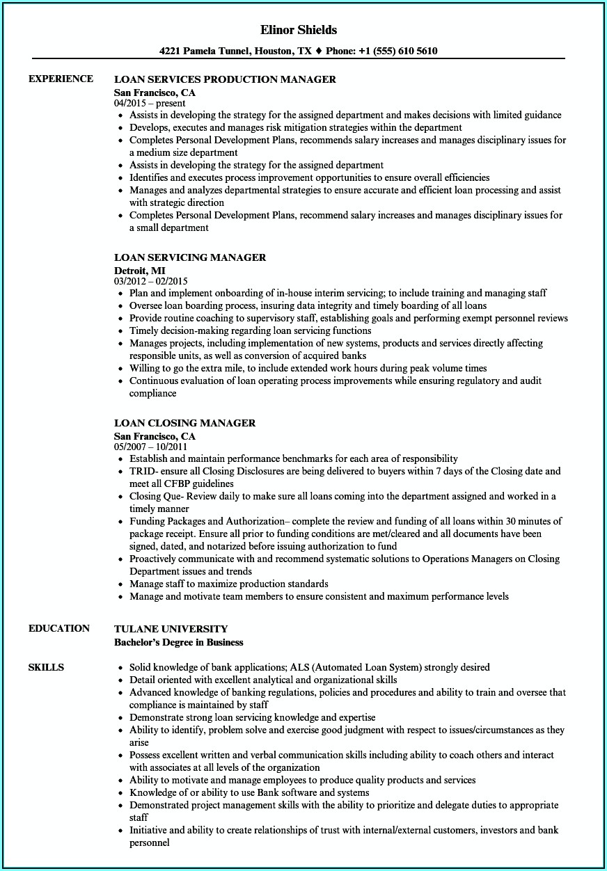 Mortgage Servicing Manager Resume