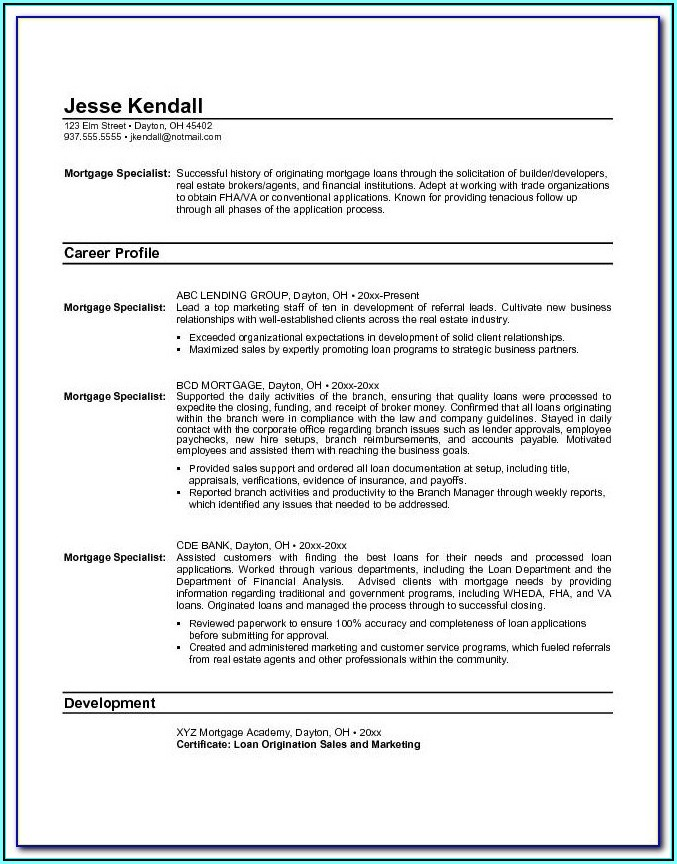 Mortgage Servicing Resume