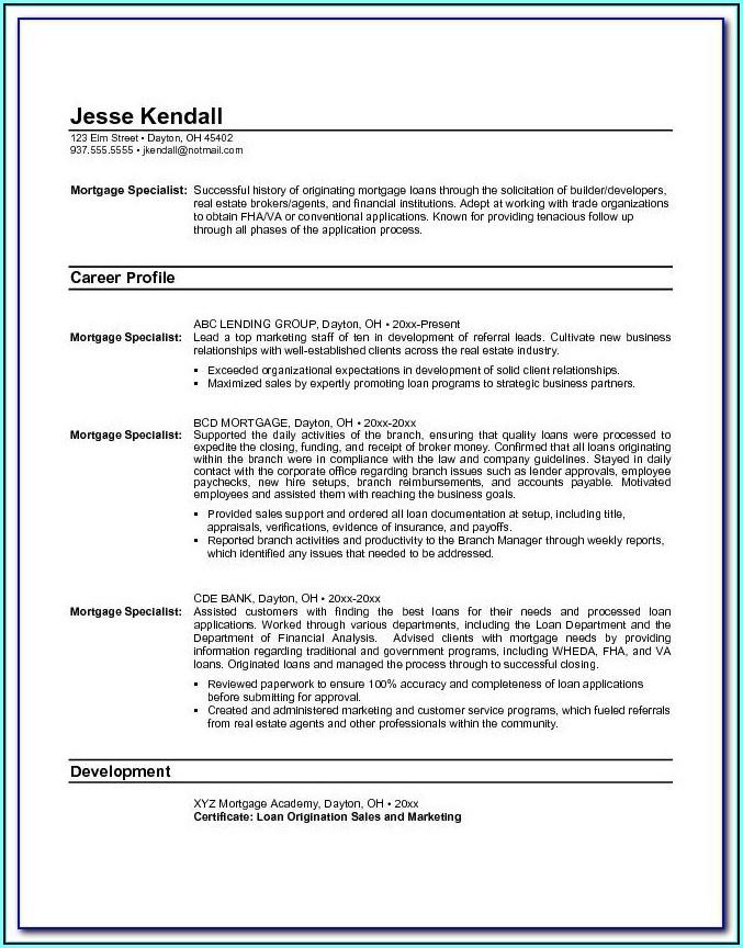 Mortgage Servicing Resume