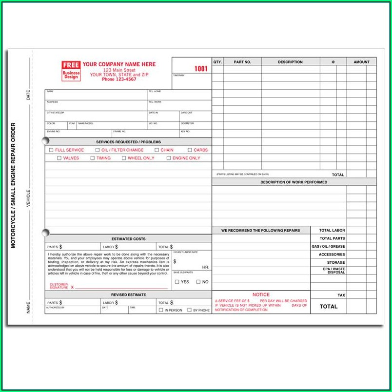 Motorcycle Repair Order Template