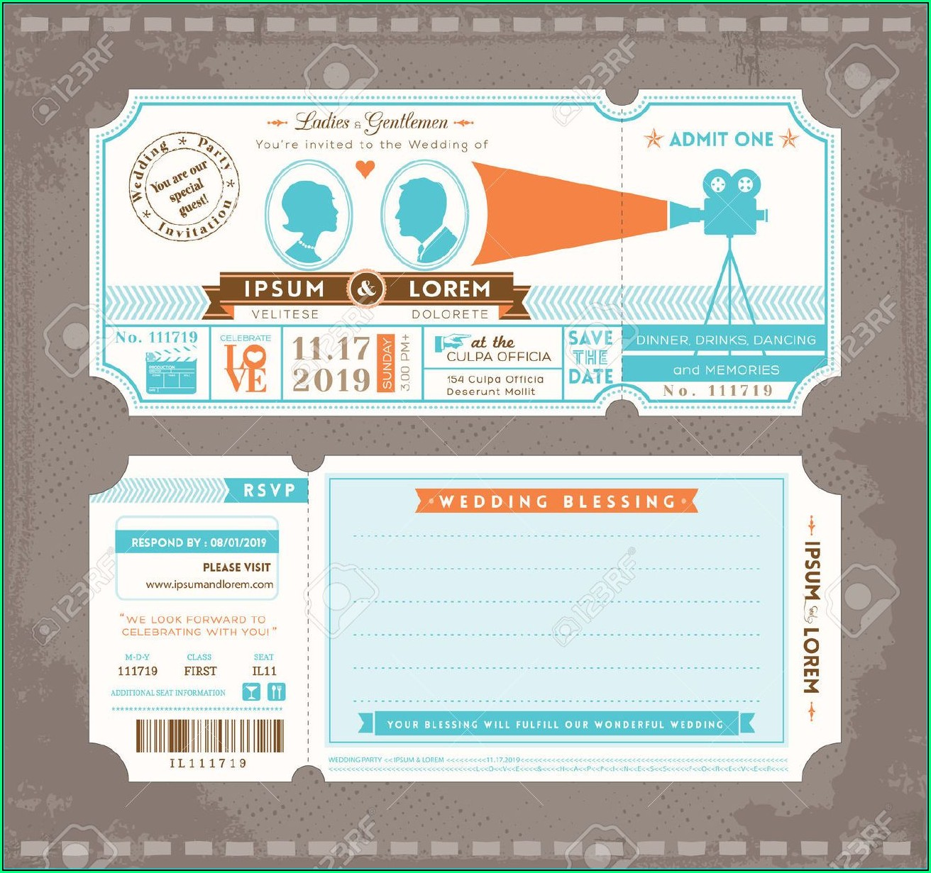 Movie Ticket Wedding Invitation Template Free