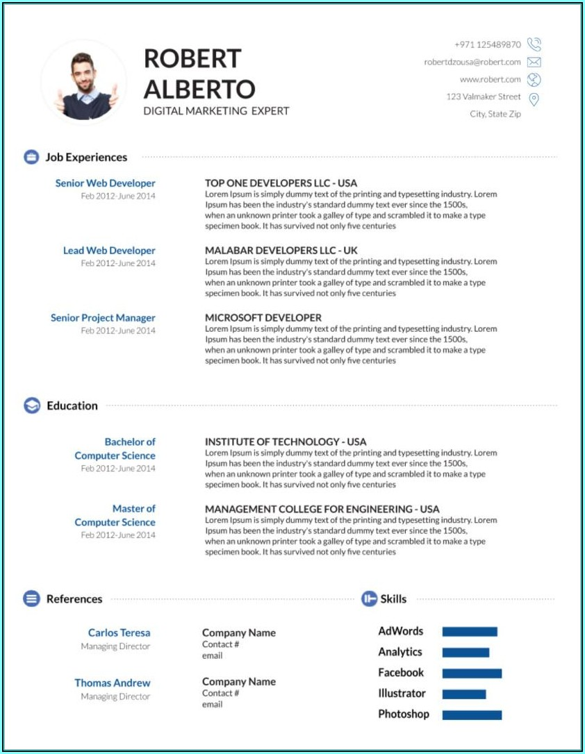 Ms Word Resume Templates Free Download