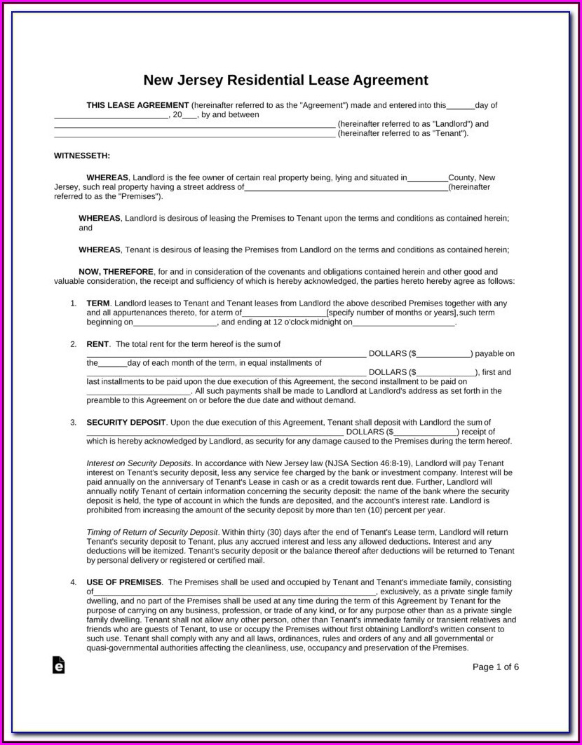 New Jersey Association Of Realtors Standard Form Of Residential Lease