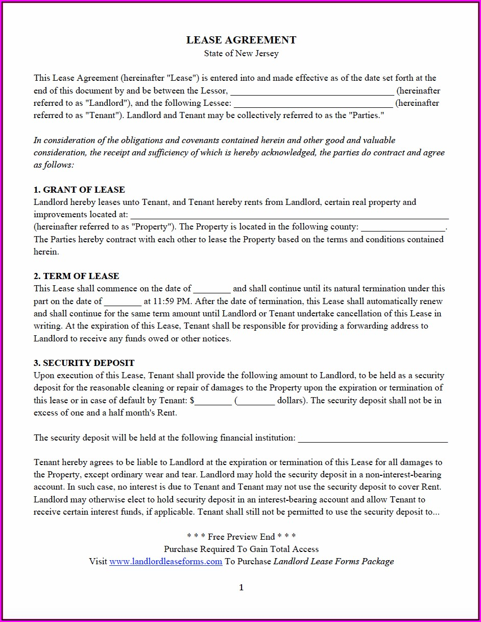 New Jersey Realtors Standard Form Of Residential Lease Pdf