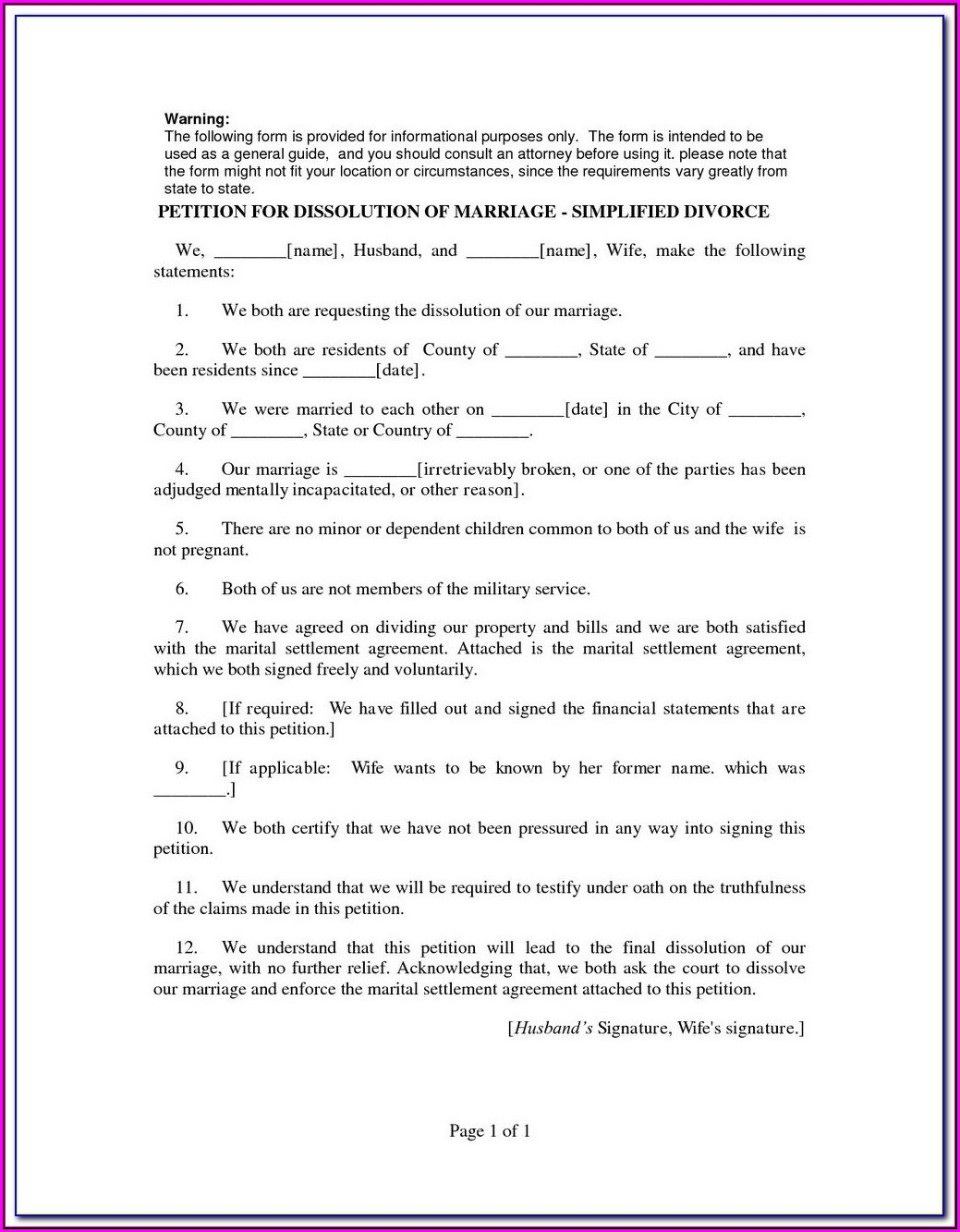 New York County Uncontested Divorce Forms