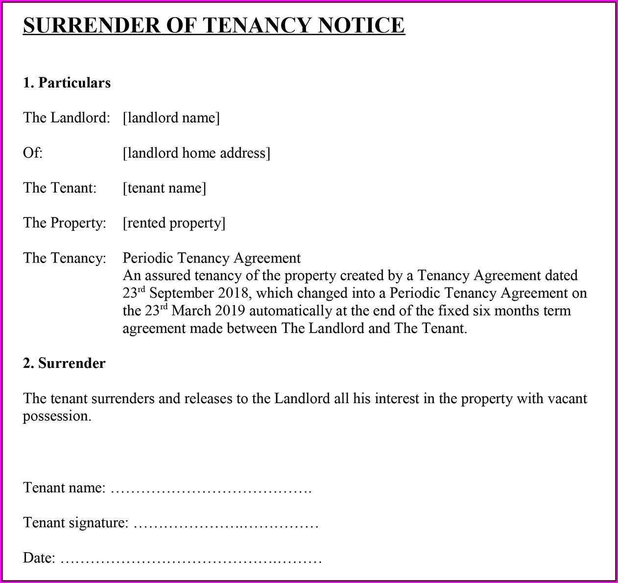 Notice To Terminate Tenancy Template Uk