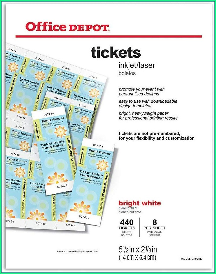 office depot ticket template download