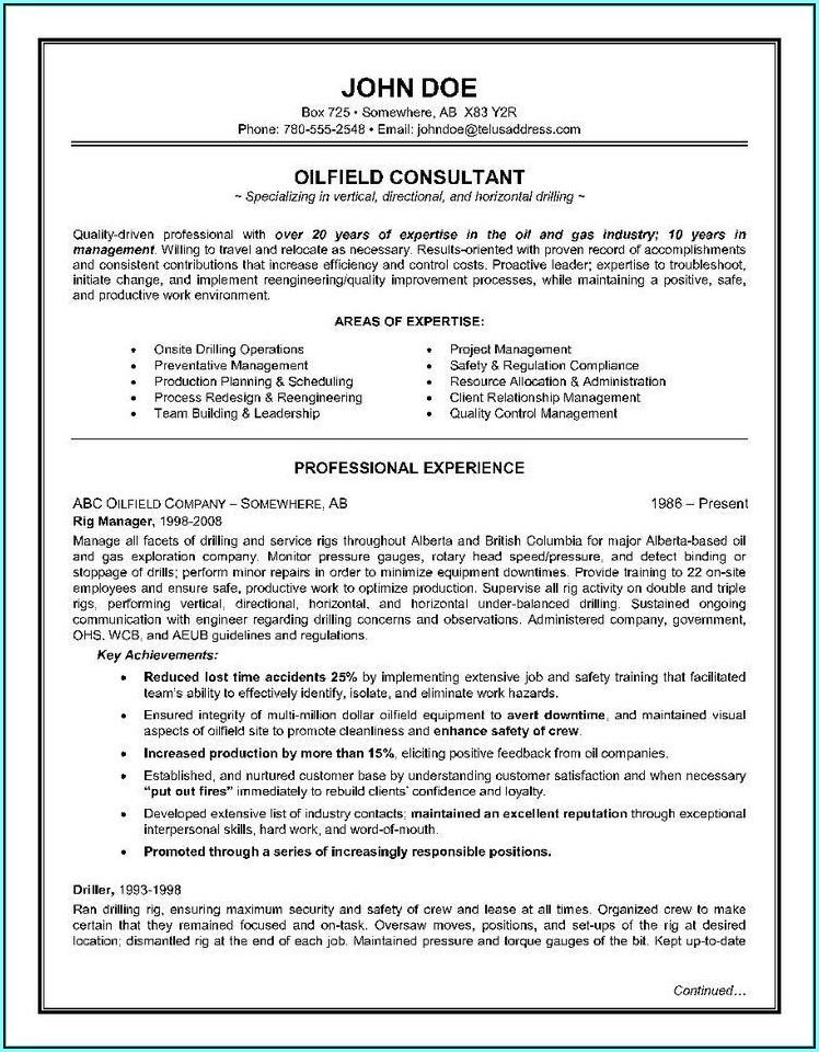 Oilfield Consultant Resume Templates