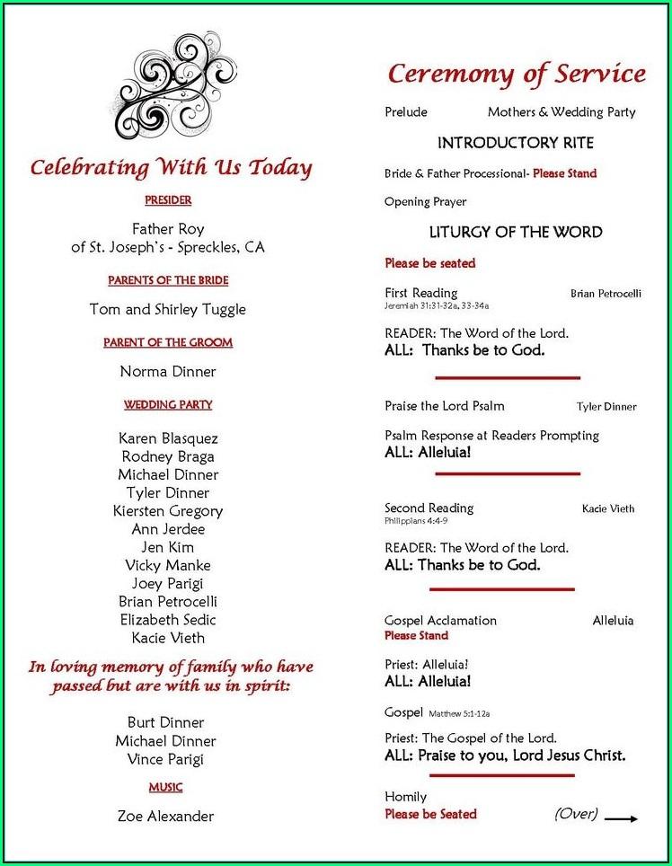 One Page Wedding Ceremony Program Template
