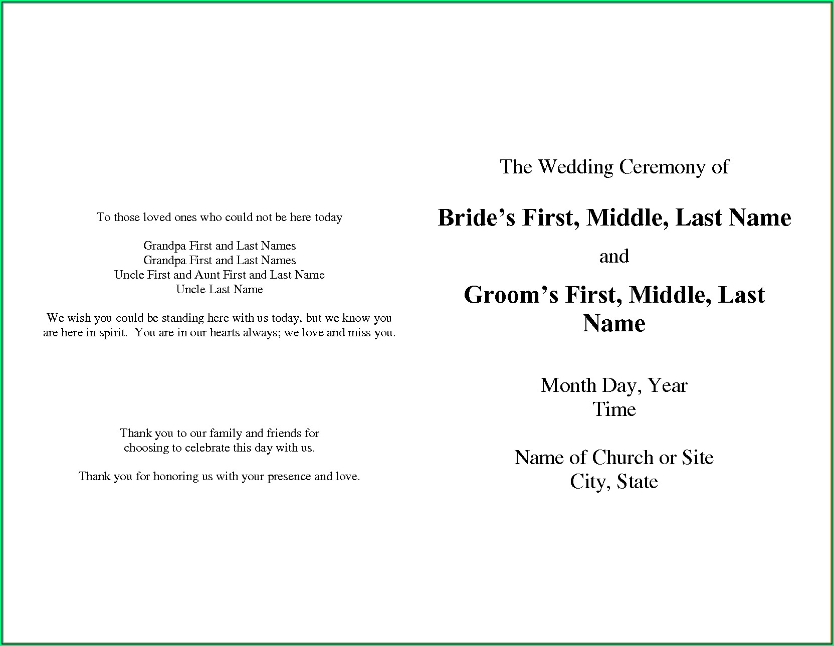 One Page Wedding Program Template Free
