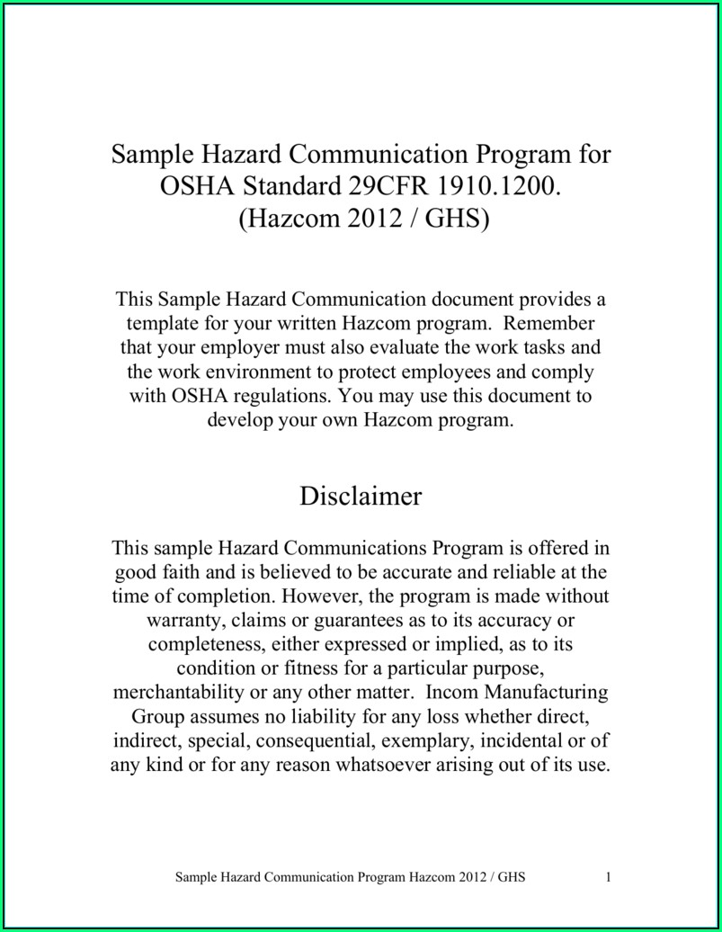 Osha Hazard Communication Program Template