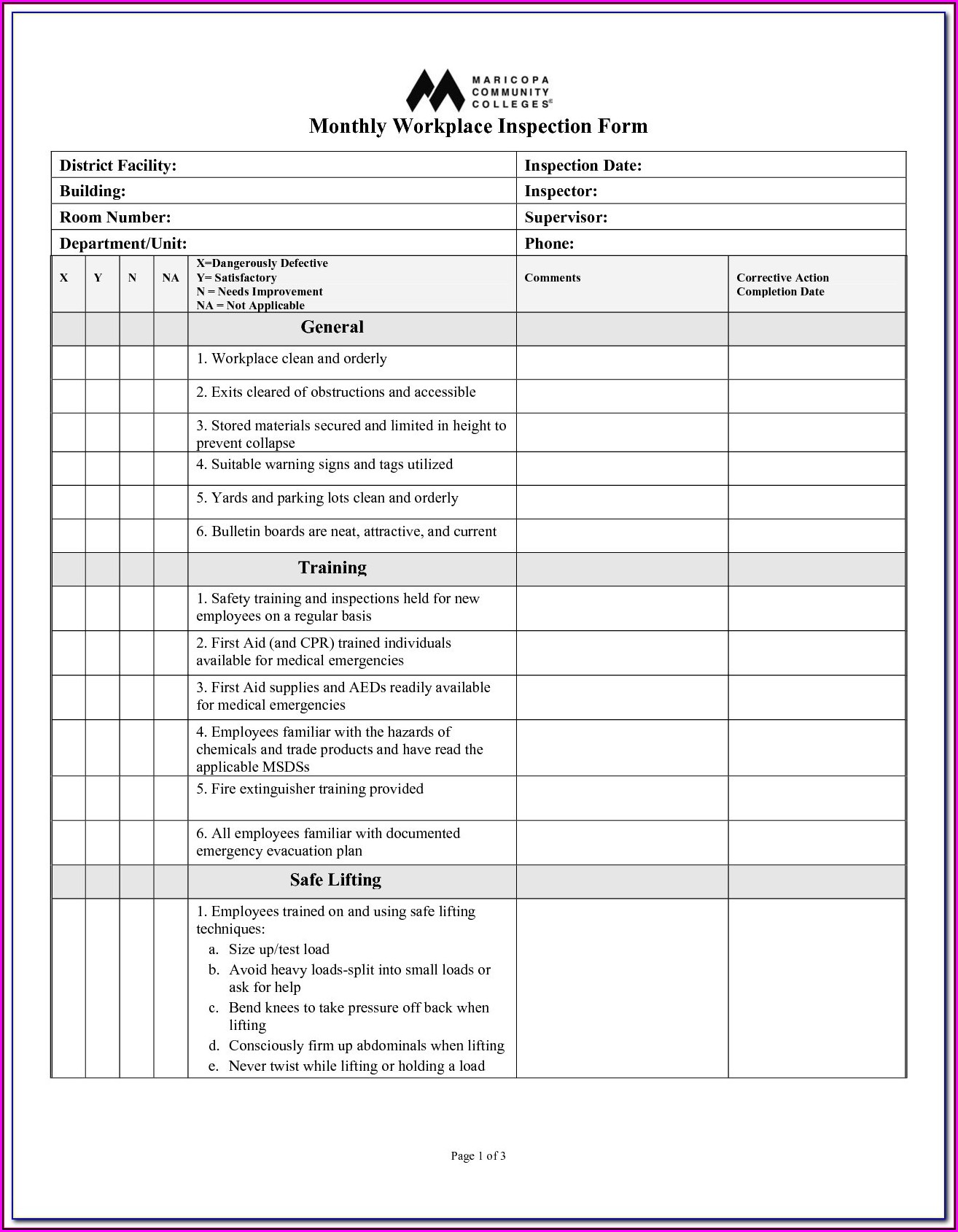 Osha Ladder Inspection Forms