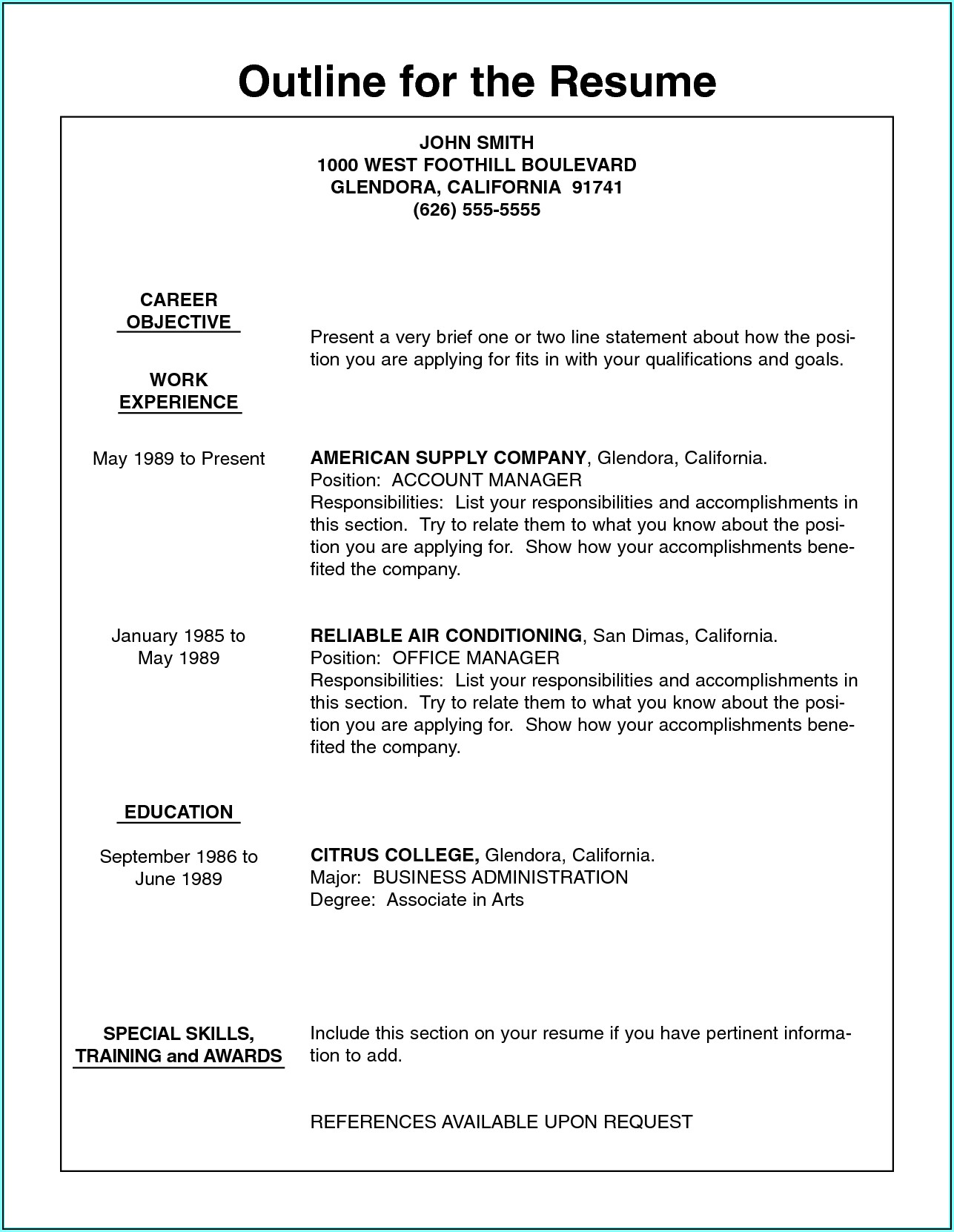 Outlines For Resumes Examples