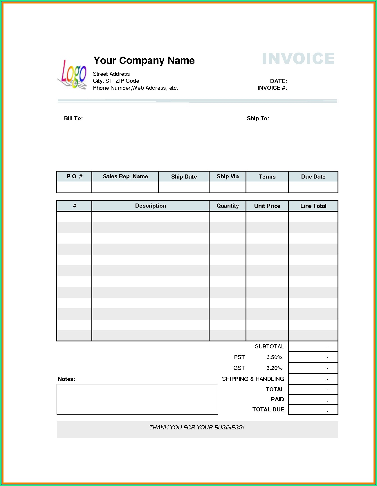 Paid In Full Invoice Template