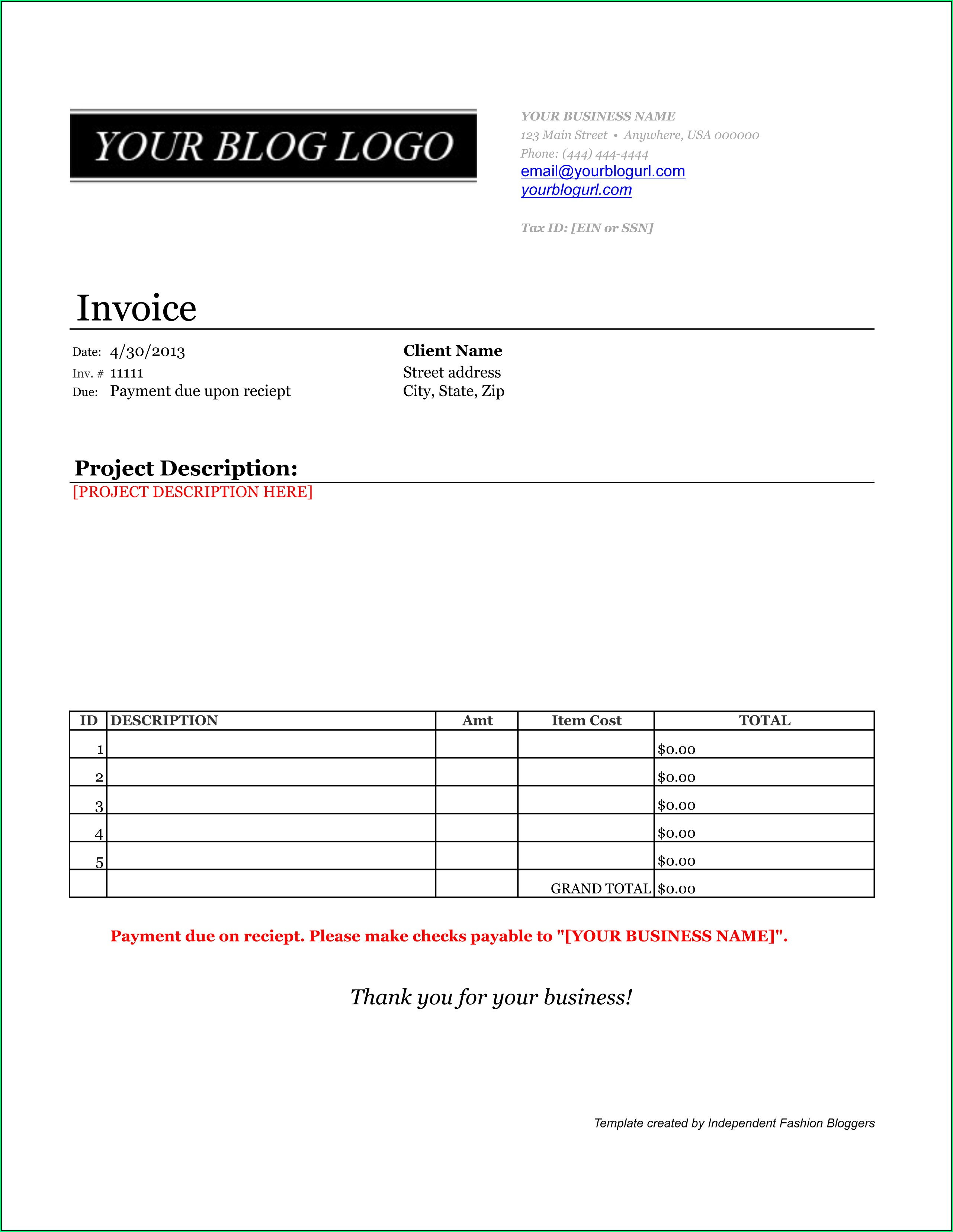 Paid Invoice Samples