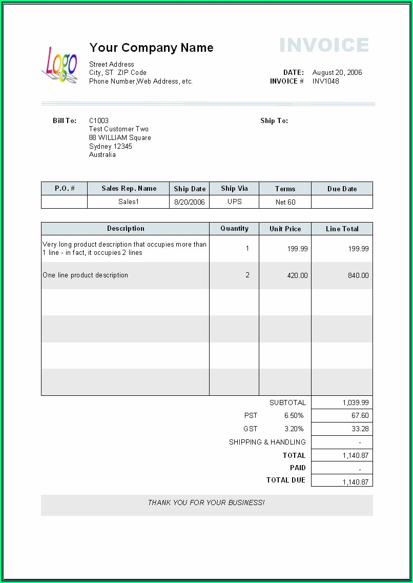Paid Invoice Template Free