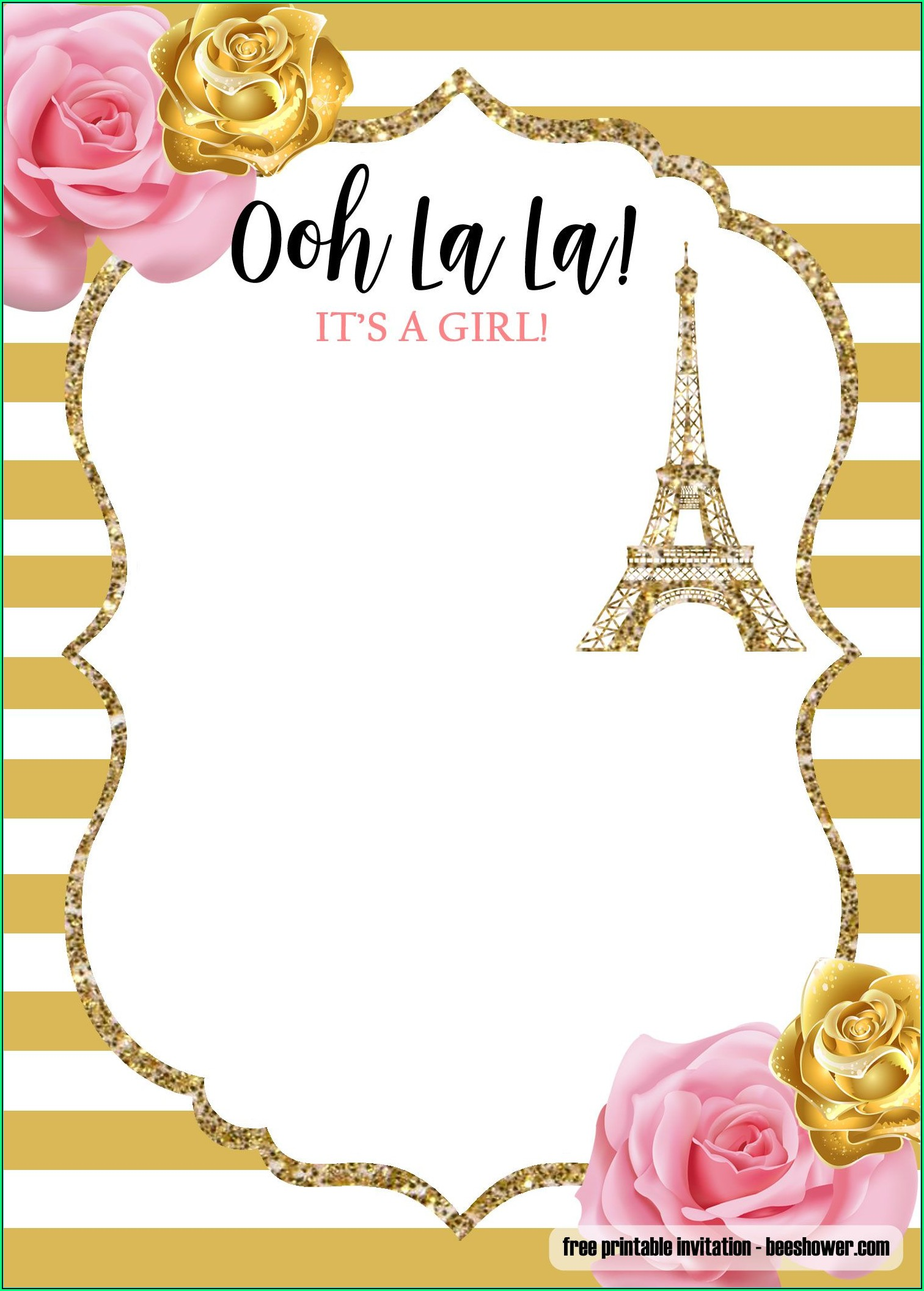 Paris Birthday Invitation Templates Free