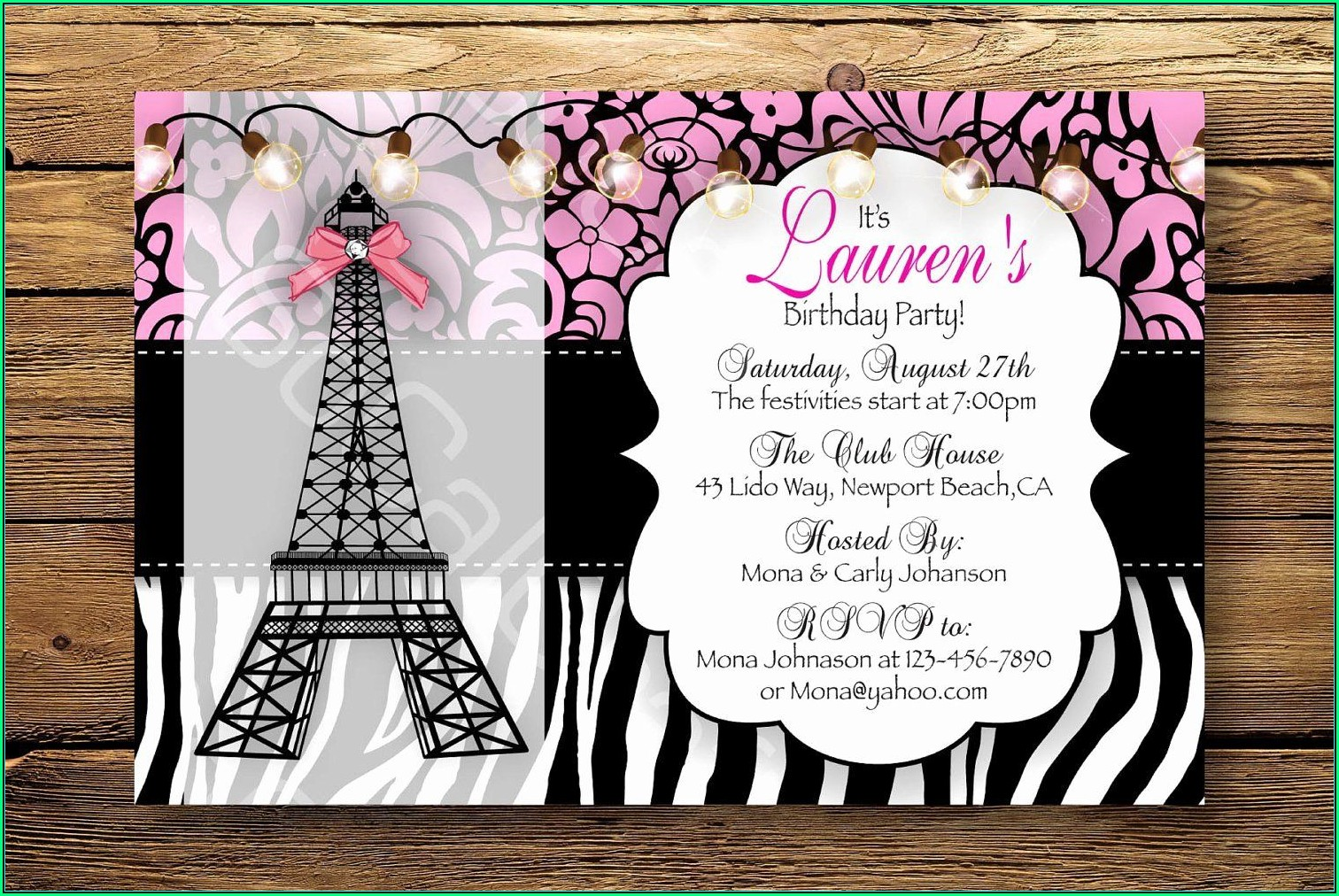 Paris Themed Invitation Template Free