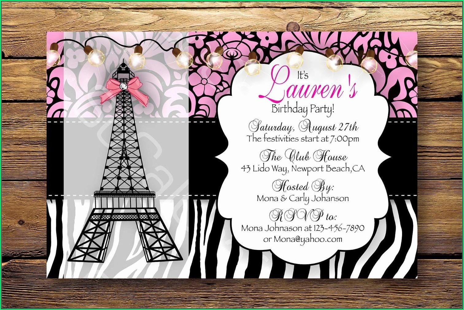Paris Themed Invitation Template Free