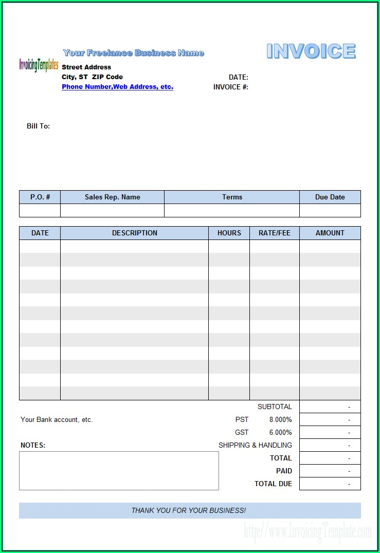 Personal Invoice Template Singapore
