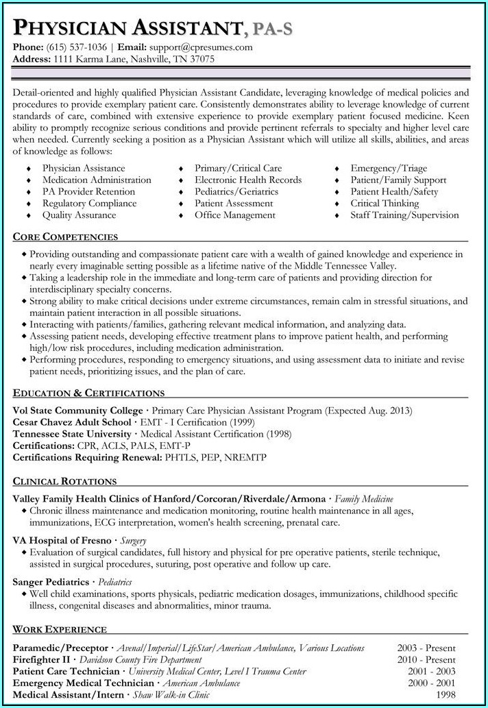 Physician Assistant Resume Writing Services