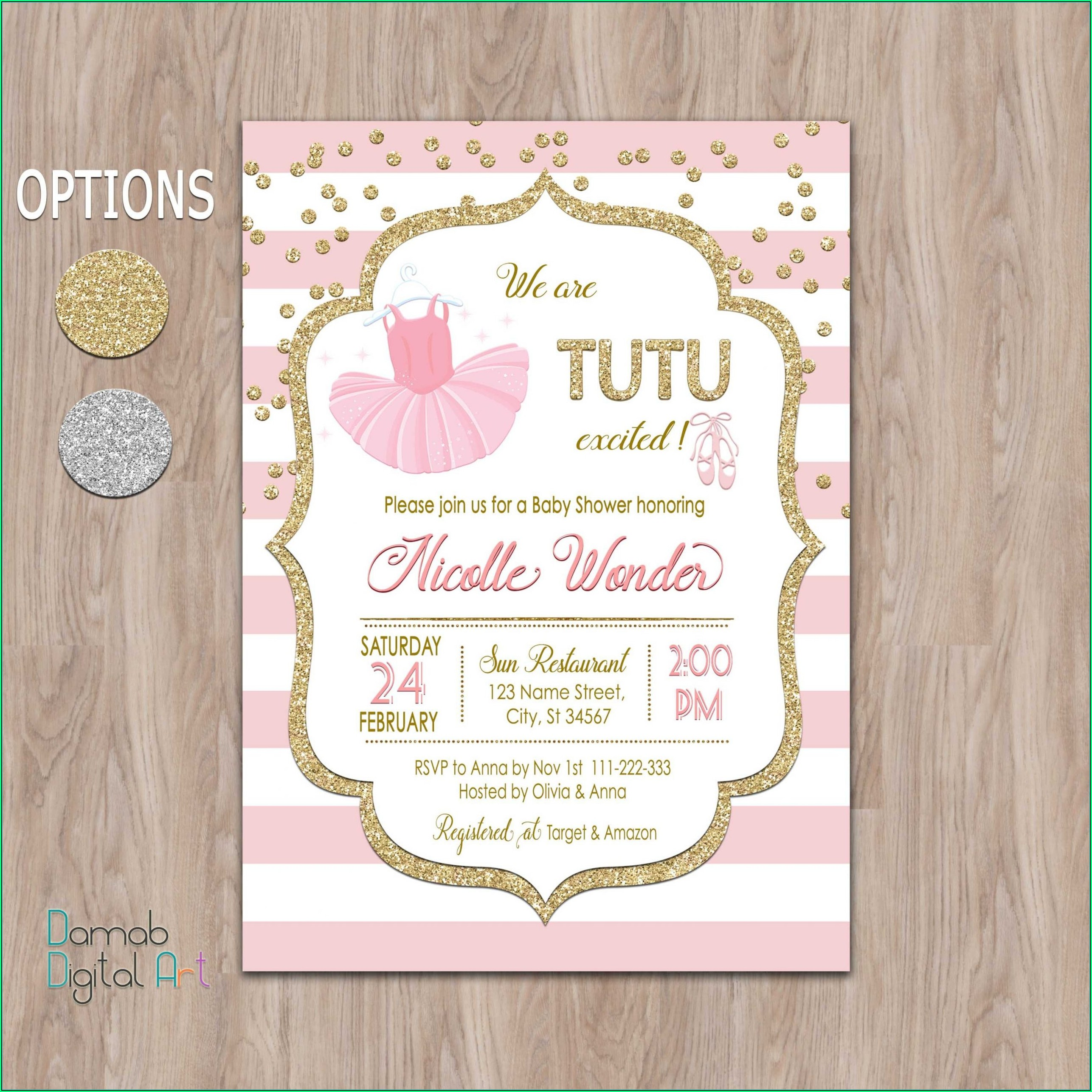 Pink And Gold Princess Invitation Templates